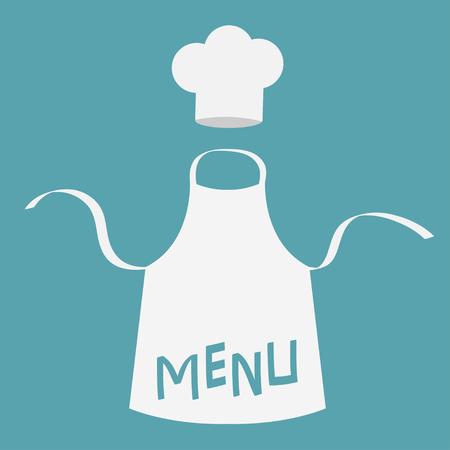White blank kitchen cotton apron and chef hat.  Flat design on blue background Vector illustration. Illustration