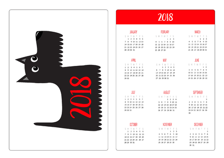 ポケットカレンダー2018年。