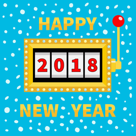 Happy New Year 2018. Slot machine. Golden Glowing lamp light. Jackpot. Red handle lever. Big win Online casino, gambling club sign symbol. Merry Christmas Flat design Blue snow flake background Vector