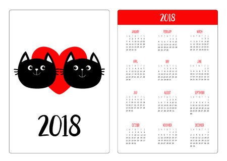 Pocket calendar 2018 year. Week starts Sunday. Two black cat head couple family. Red heart. Cute cartoon character. Happy Valentines day. Kitty Baby pet collection White background. Flat design Vector Vectores