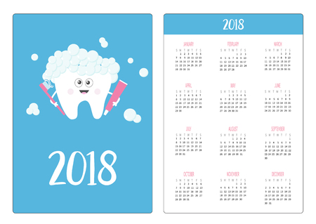Pocket calendar 2018 year. Week starts Sunday. Tooth holding toothpaste toothbrush. Bubbles foam cute cartoon smiling character children teeth care icon oral dental hygiene baby background. Flat vector 向量圖像