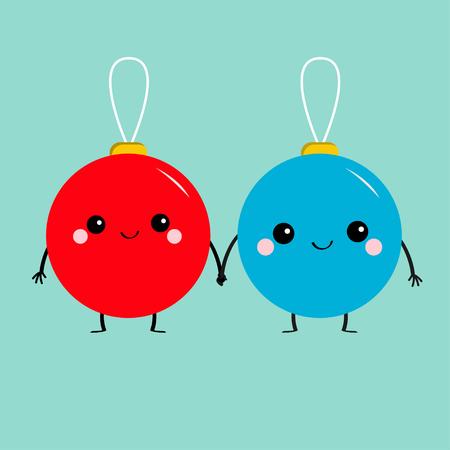 Christmas ball toy icon set.