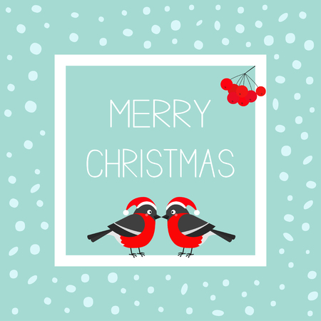 Merry Christmas greeting card. Bullfinch winter red feather bird set. Santa hat. Rowan rowanberry sorb berry. White square frame with text. Cute cartoon character. Flat design. Snow background. Vector