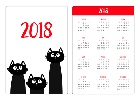 Pocket calendar for 2018 vector illustration Illustration