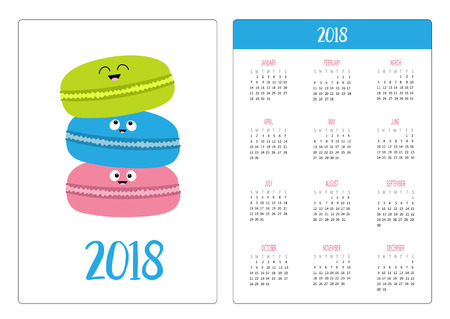 Pocket calendar 2018 year. Week starts Sunday. Three macaron or macaroon icon. Sweet bakery pastry cookies set with face. Cute cartoon smiling character. Fast food. White background Flat design Vector