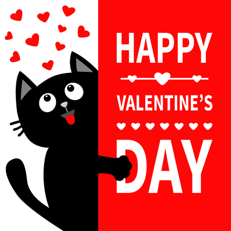 Black cat holding big signboard. Looking up to hearts. Cute cartoon funny kitten kitty hiding behind paper. Valentines Day Calligraphy lettering text. Flat Typography print. Red background. Vector