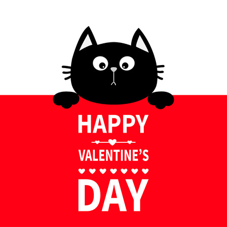 Black cat hanging on board signboard. Cute cartoon funny kitten kitty hiding behind paper. Happy Valentines Day. Calligraphy lettering text. Flat design. Typography print. Red background. Vector