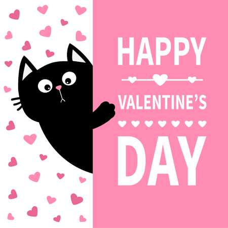 Black cat holding signboard. Cute cartoon funny kitten kitty hiding behind paper. Happy Valentines Day Calligraphy lettering text. Flat Typography print. Pink heart background. Greeting card. Vector Vettoriali