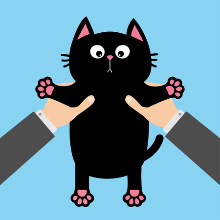 Human businessman hand holding black cat Funny face, paw print, mustaches. Cute cartoon character. Kawaii animal. Adoption helping hands concept. Love card. Flat design. Blue background. Vector