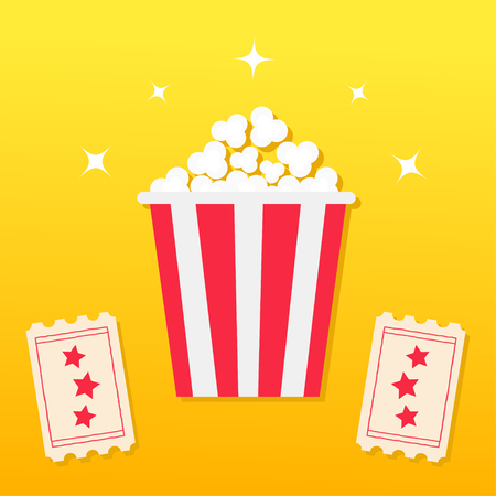 Popcorn box and Two Tickets with star design vector illustration Illustration