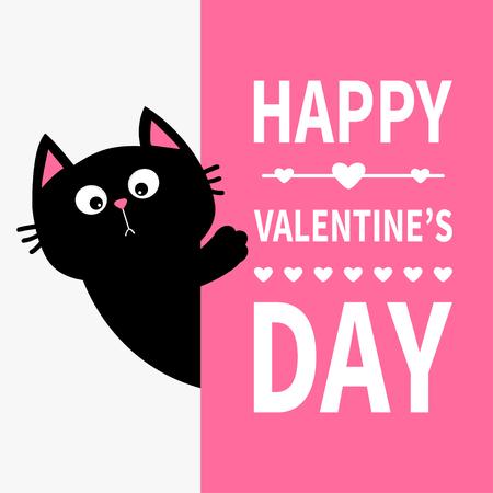 大きな看板を持つ黒猫。紙の後ろに隠れているかわいい漫画面白い子猫キティ。ハッピーバレンタインデー書道レタリングテキスト。フラットデザインタイポグラフィプリントピンク背景グリーティングカードベクトル