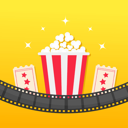Popcorn box. Film strip rounded. Two tickets admit one. Cinema icon set in flat design style. Pop corn icon. Yellow gradient background. Shining stars. Vector illustration Illustration