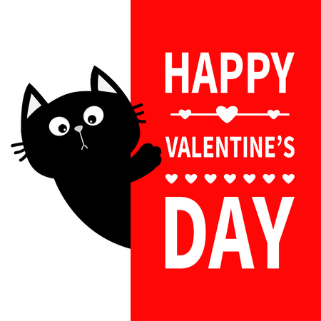 Black cat holding big signboard. Cute cartoon funny kitten kitty hiding behind paper. Happy Valentines Day Calligraphy lettering text. Flat design Typography print Red background Greeting card Vector