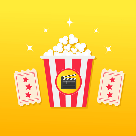 Popcorn box. Two Tickets with stars. Clapper board. Movie Cinema icon in flat design style. Pop corn icon. Yellow gradient background. Shining sparkles. Vector illustration