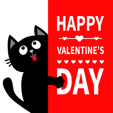 Black cat holding big signboard. Looking up. Cute cartoon funny kitten kitty hiding behind paper. Valentines Day Calligraphy lettering text. Flat design. Typography print. Red heart background. Vector