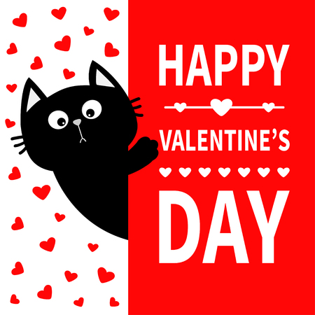 Black cat holding signboard. Cute cartoon funny kitten kitty hiding behind paper. Happy Valentines Day Calligraphy lettering text. Flat Typography print. Red heart background. Greeting card. Vector