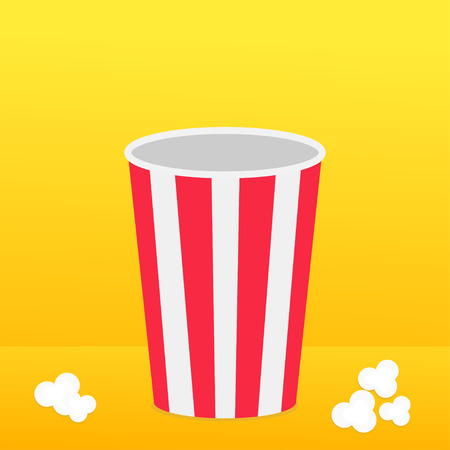 Popcorn round box standing on the surface. Movie Cinema icon in flat design style. Pop corn popping. Yellow gradient background. Fast food. Vector illustration