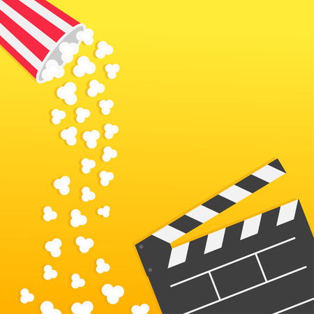 Popcorn falling from round box. Open clapper board. Movie Cinema icon Flat design style. Pop corn raining down in the air. Yellow gradient background. Fast food. Left side template Vector illustration