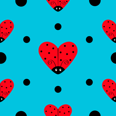 Ladybug Ladybird icon set. Heart shape. Baby collection. Funny kawaii baby insect. Black dots. Seamless Pattern Wrapping paper, textile template. Blue background. Flat design. Vector illustration