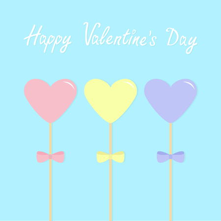 Three hearts with bows on sticks. Pink blue yellow pastel colors. Happy Valentines Day. Love greeting card emplate. Flat design. Blue sky background. Isolated. Vector illustration Illustration