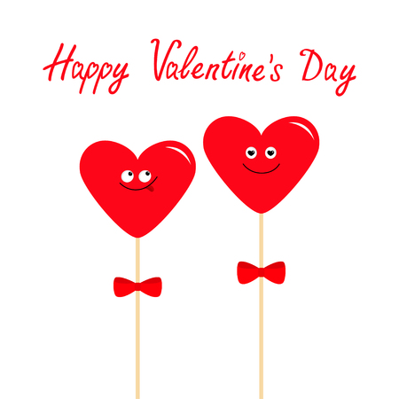 Two red hearts on sticks with bows. Cute cartoon character set. Funny smiling face. Date couple. Happy Valentines Day. Love greeting card. Flat design. White background. Isolated. Vector Illustration
