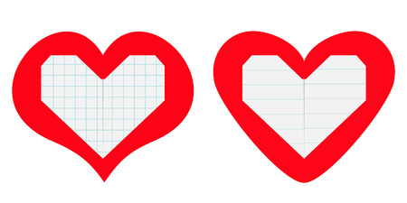 Notebook squared lined paper inside red heart icon set. Origami handmade craft fold. Line texture. Happy Valentines day. Cute graphic shape. Flat design. Love greeting card. White background.