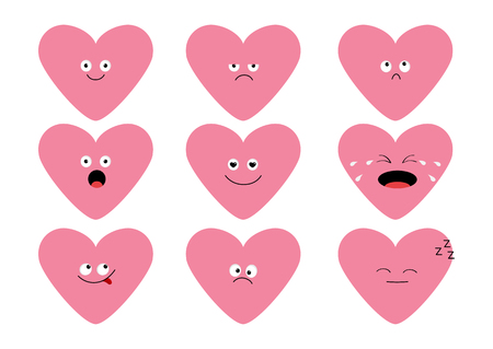 Cute pink heart shape emoji set. Funny cartoon characters. Emotion collection. Happy, surprised, smiling, crying, sad angry face head. White background. Isolated Flat design Vector illustration Illustration