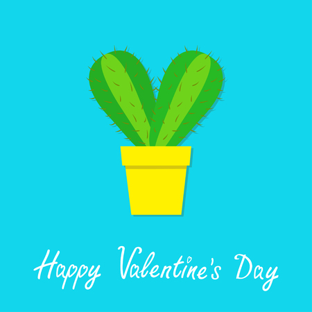 Happy Valentines Day. Cactus heart icon in flower pot. Desert prikly thorny spiny plant. Minimal flat design. Bright green houseplant. Pastel blue color background Isolated. Love greeting card. Vector