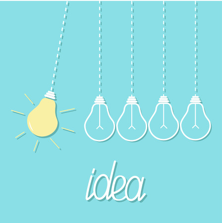 Hanging yellow light bulb. Switch on off lamp. Perpetual motion. Dash line. Idea concept. Flat design. Blue pastel background. Vector illustration
