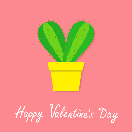Happy Valentines Day. Cactus heart icon in flower pot. Desert prikly thorny spiny plant. Minimal flat design. Bright green houseplant. Pastel pink color background Isolated. Love greeting card. Vector 일러스트