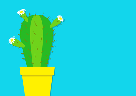Cactus icon in the pot. White daisy chamomile flower. Desert prikly thorny spiny plant. Minimal flat design. Growing concept. Bright green houseplant. Pastel blue color background. Isolated. Vector