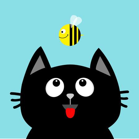 Black cat head looking at honey bee insect. Cute cartoon character.