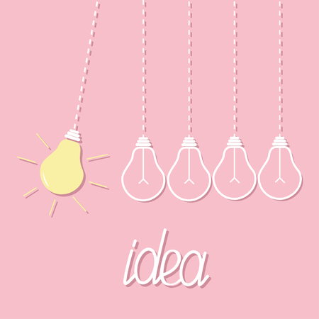 Hanging yellow light bulb. Switch on off lamp. Perpetual motion. Dash line. Idea concept. Flat design. Pink pastel background. Vector illustration Illustration