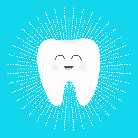 Healthy white tooth icon with smiling face. Cute cartoon character. Dash line round circle. Oral dental hygiene. Children teeth care. Shining effect stars. Bright blue background. Flat design. Vector