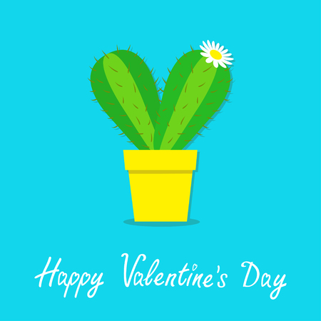Happy Valentine's day, cactus heart icon in the pot. White daisy chamomile flower, desert prickly thorny spiny plant flat design. Love greeting card, bright pastel blue color background vector.