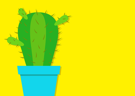 Cactus icon in flower pot. Desert prikly thorny spiny plant. Minimal flat design. Growing concept. Bright green houseplant. Pastel yellow color background Isolated Template Cute cartoon object. Vector Çizim