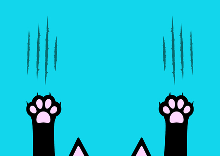 Cat claw scratching set. Black paw print leg foot. Bloody claws animal red scratch scrape track. Ear cartoon character body part silhouette. Baby pet collection Flat design Blue background. Vector