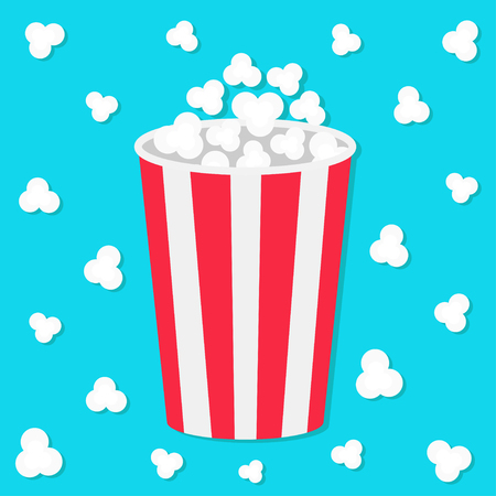 Popcorn round bucket box. Movie Cinema icon in flat design style. Pop corn popping. Blue background. Fast food. Vector illustration