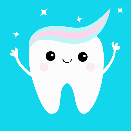 Tooth with toothpaste hair. Hands up. Shining stars. Cute funny cartoon smiling character. Paste on head. Children teeth care icon. Oral dental hygiene. Tooth health Baby background Flat design Vector Illustration