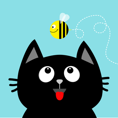 Black cat head looking up to flying honey bee insect with Dash line loop track. Red tongue, Surprised emotion.  Flat design in Blue sky background. Vector illustration. Vettoriali