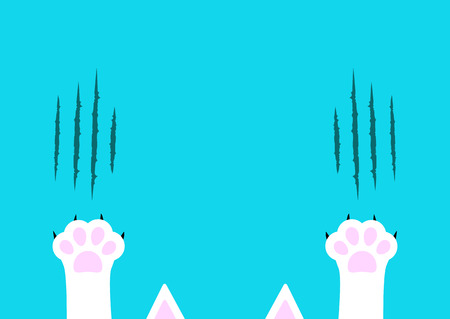 Cat claw scratching set.  Flat design on Blue background. Vector illustration.