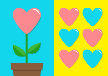Pink and Blue hearts icon set with heart Flower in a pot.  Flat design on Bright yellow and blue background.  Vector illustration