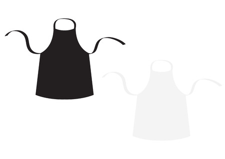 Black and white blank kitchen uniform cotton apron set for cook chef or baker vector illustration.