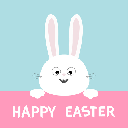White bunny rabbit hanging on pink paper board happy easter paw print blue background. Vector