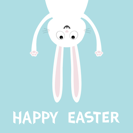 Happy Easter greeting card template vector illustration with white bunny rabbit