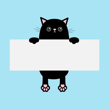 Black funny cat hanging on paper board template. Kitten body with paw print. Illustration