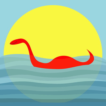 Loch Ness Nessy fictional creature. Water monster with eye, tail Swimming floating Sea ocean wave sunset. Dinosaur shape. Cute cartoon character. Baby collection Flat design Blue background sun Vector