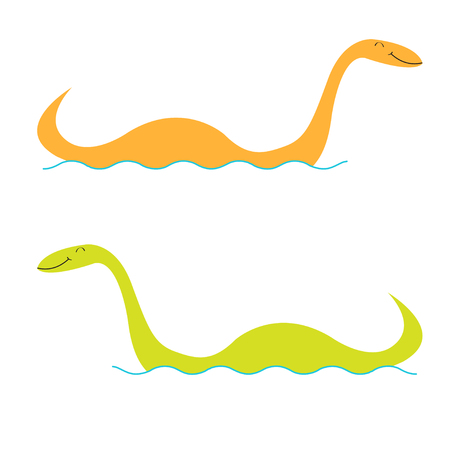 Loch Ness Nessy fictional creature set. Water monster with eye, tail Swimming floating Sea ocean wave. Dinosaur shape. Funny Cute cartoon character. Baby collection Flat design White background Vector Ilustração