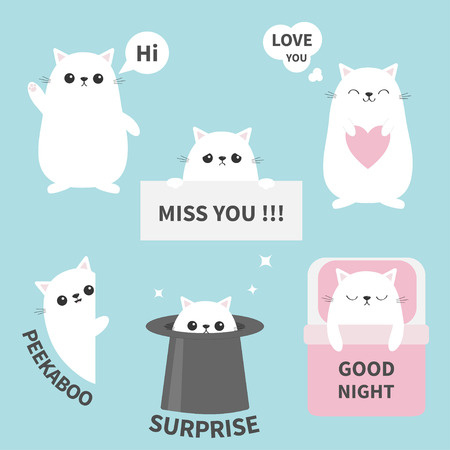 Cat kitten sticker emotion emoji icon set. Miss you. Hi. Good night, love you. Funny head face. Cute cartoon character. Magic hat. Heart.  Baby card. Flat design. Blue background Vector