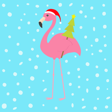 Pink flamingo with wing holding christmas fir tree. Santa Claus hat. Exotic tropical bird. Zoo animal collection. Cute cartoon character. Decoration element. Flat design. Blue snow background. Vector 向量圖像